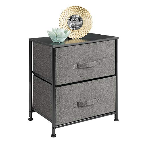 Find Discount mDesign Vertical Dresser Storage Tower - Sturdy Steel Frame, Wood Top, Easy Pull Fabri...