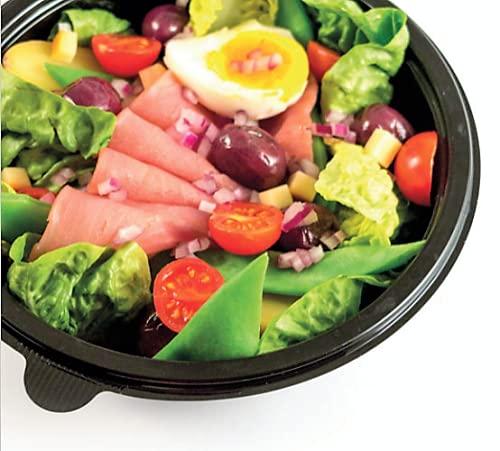 100 Vaschette+Coperchio per Insalate e Poke Bowls da 1000ml in PET Nero e Coperchio Trasparente in plastica 100% riciclabile