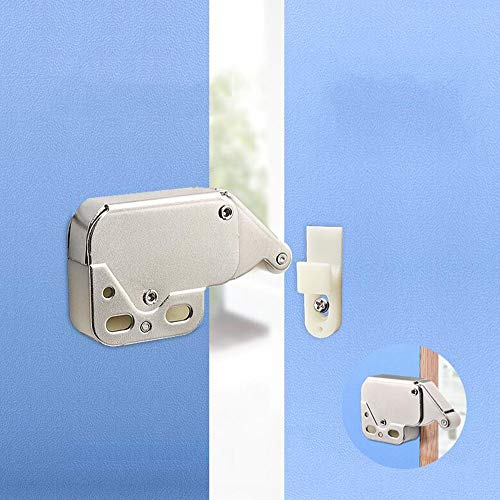 (Paquete de 4) Sistema automático de resorte a presión Cerradura táctil a presión Cerradura de punta pequeña Cerradura de seguridad para muebles de puerta de gabinete