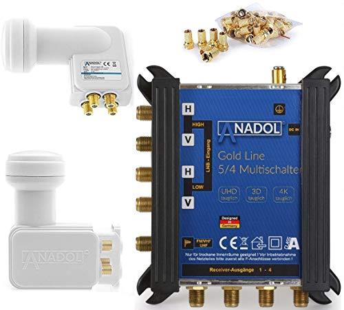 LNB + MULTISCHALTER Set: Anadol Gold Line 5/4 digitaler Multischalter [ Test SEHR GUT ] für 1 Satellit und 4 Ausgänge/Receiver + Anadol Quattro LNB [ Test 2X SEHR GUT ] 17 vergoldete F-Stecker gratis