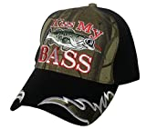 Kiss My Bass with Fish Fisherman 3D Embroidered Baseball Cap Hat