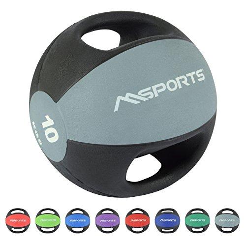 MSPORTS Medizinball Premium mit Griffe 1 – 10 kg – Professionelle Studio-Qualität Gymnastikbälle (10 kg - Hellgrau)