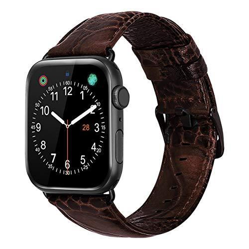 iBazal vervangende armbanden voor iWatch Series 5 4 44 mm Series 3 2 1 armband 42 mm slang huid bedrukt leer horlogebandje vervangbandje horlogebandje vervangband herenhorlogeband, donkerbruin