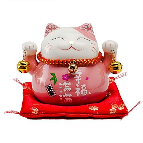 Maneki Neko Glückskatze Glücksbringer Spardose aus Porzellan L12*W9*H10cm,Pink