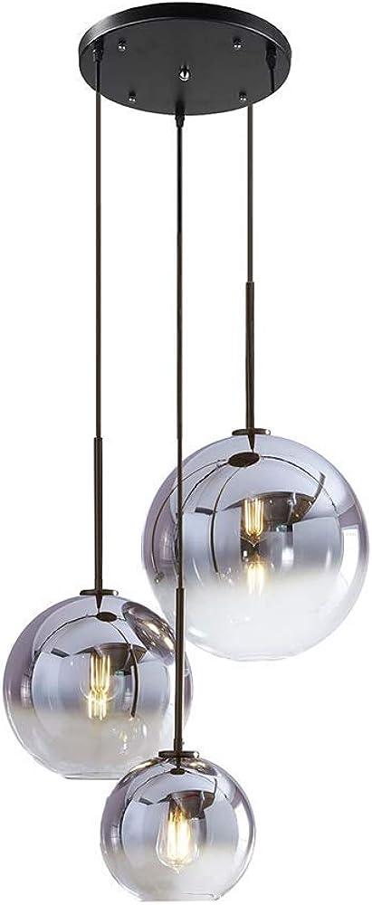 Lampada a sospensione a sfera in vetro set 3 vie mzstech
