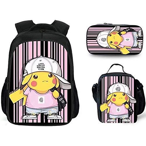 HOOBBI Comfortable Breathable School Bag Detective Pikachu Cartoon Childrens Backpack Lightweight Durable Cartoon Pikachu Backpack Set with Lunch Bag Pencil Bag (Color : Pikachu11)