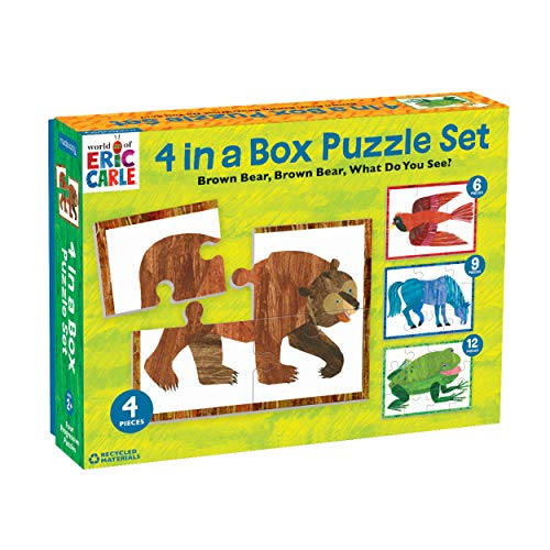 """Mudpuppy World of Eric Carle Brown Bear 4-in-A-Box Puzzles, Ages 2-5, Each Measures 6""""x8 - Chunky Puzzles with 4, 6, 9 and 12 Pieces Featuring Popular Animals - Difficulty Level Grows with Child"""