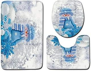 Christmas Bath Mat Set Non-Slip Carpet Pedestal Rug Toilet Seat Cover Dreamlike Santa Claus Snowman Prit Bathroom Mat Set