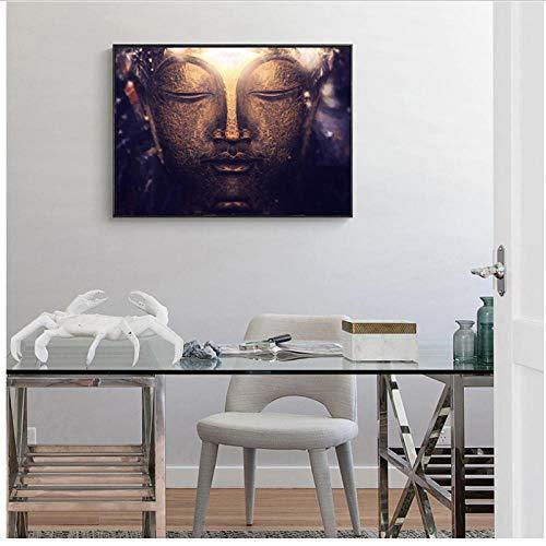 MULMF Leinwand Malerei Wandkunst Bilder Braun Modernen Großen Stil Poster Religion Buddha Icon Print Wanddekor Haus-40x60 cm kein Rahmen