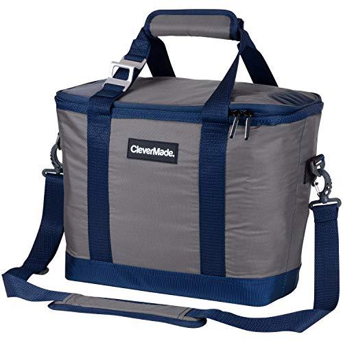 CleverMade Refrigerador dobrável SnapBasket 30 latas com lateral macia: sacola isolada de 20 litros com alça de ombro, cinza/azul marinho