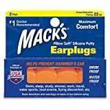 Mack's Pillow Soft Ear Plugs, Hot Orange 2 pairs (Pack of 2)
