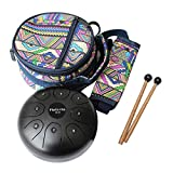 Flatsons Steel Tongue Drum Hang Tank Drum Mini Handpan 5.5 Inch Standard C Key 8-Tone Percussion Instrument with Drum Mallets Carry Bag for Beginner Adult Kid Black (5.5inch)