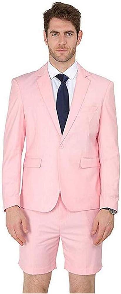 2 Piece Pink Men's Summer Suit(Jacket+Short Pants) Blazer Slim Fit Formal Business Grooms Tuxedo
