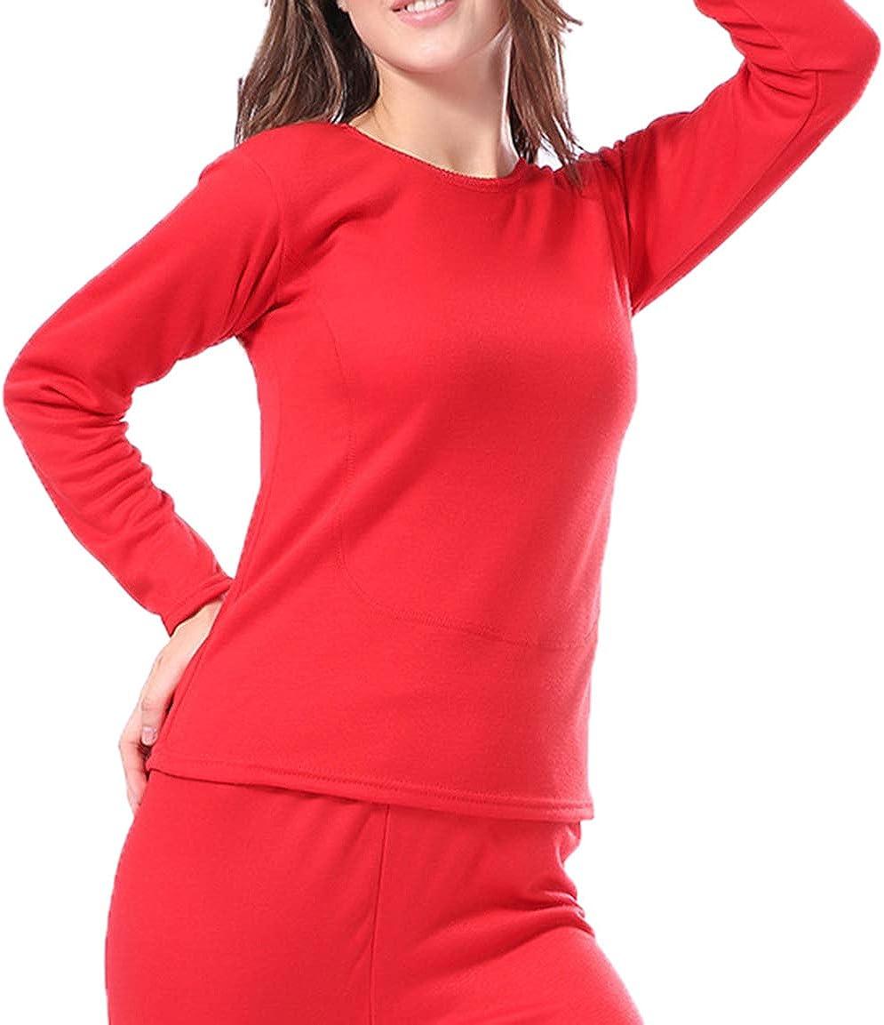 Femaroly Women's Ultra Soft Thermal Underwear Set Pjs Long Johns Top and Bottom