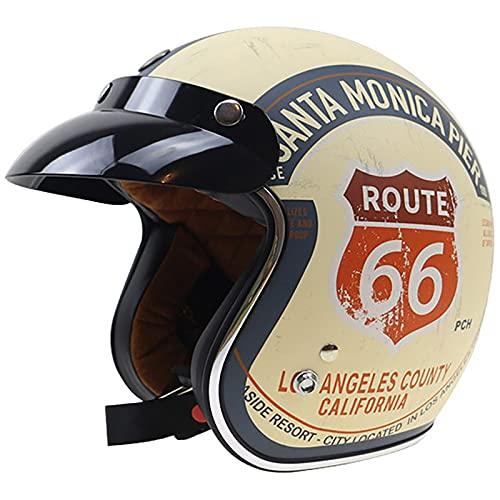 Retro Casco De Moto Abierto para Mujer e Hombre,Media Cara Casco De Protección para Motocicleta Scooter con Visera Cruiser Bike Chopper Jet Casco ECE Certificado Half Helmet B,XXL=61~62CM