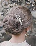 Edary Brautschmuck Silber Hochzeit Haarkämme Strass Braut Kopfschmuck Perle Haarspangen Kristall Haarschmuck für Frauen und Mädchen