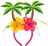 Package includes: 1 Summer Head Bopper - one size fits most children and adults Featuring a pink headband with an attached green palm tree bopper and colorful hibiscus floral trim Perfect accessory for hawaiian/luau, carribean themed party, summer pi...