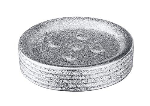 WENKO Seifenablage Polaris Juwel, Seifenschale zur Aufbewahrung von Handseife, aus edler Keramik, Ø 11 x 2,8 cm, Silber