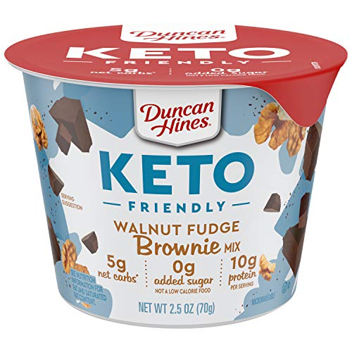 Duncan Hines Keto Friendly Dessert Cups Walnut Fudge Brownie Mix, Walnut Brownie Cake Cup, 30 oz (Pack of 12)