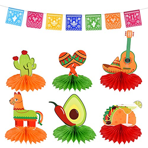 FEPITO 6Pcs Fiesta Honeycomb Table Centerpiece and Mexican Party Banners Fiesta Banners de Plástico para Decoraciones de Fiesta Mexicana, Decoraciones de Fiesta de Mesa Cinco De Mayo