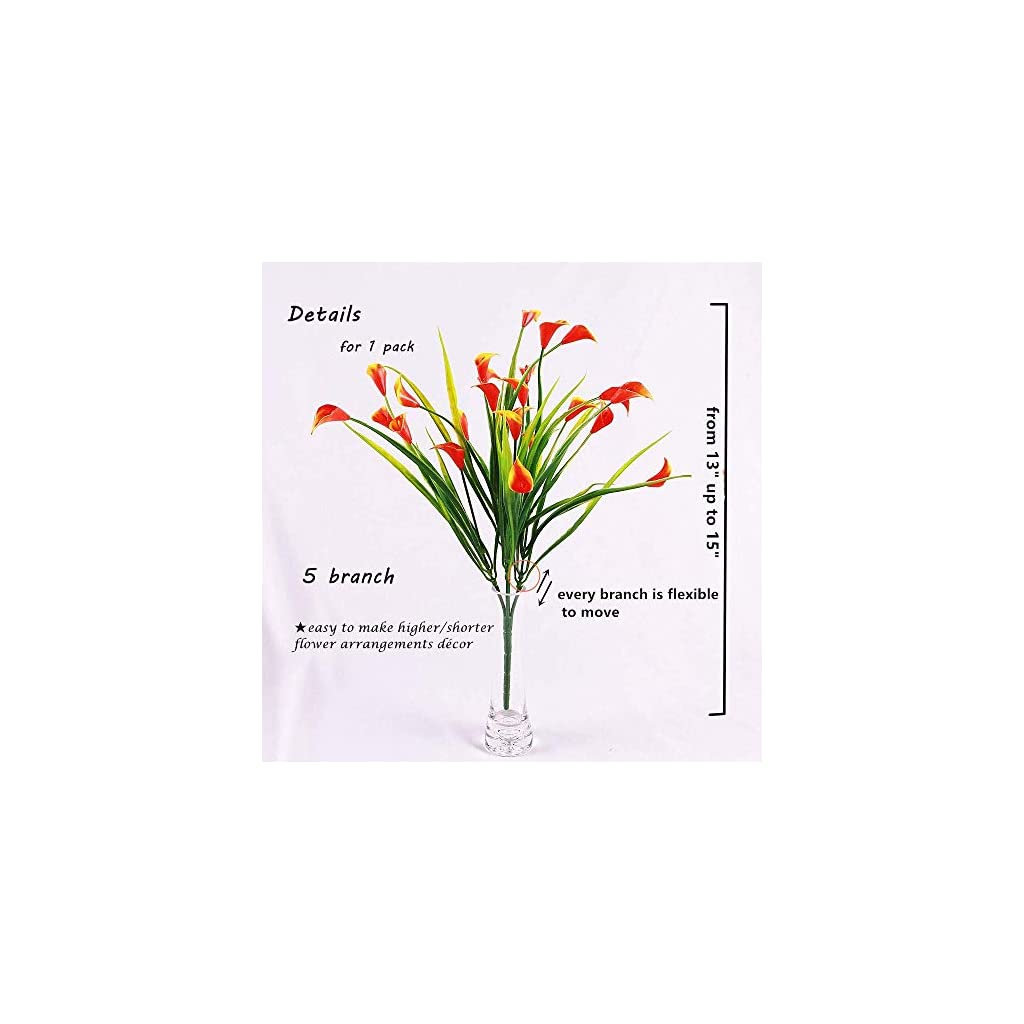 KIRIFLY Artificial Flowers,Artificial Plants Outdoor 6 Packs Plastic Flowers Fake Calla Lily Faux Plant UV Resistant Greenery for Garden Home Decor (Colorful)