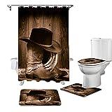 EZON-CH The West Cowboyhut-Schuhe, Retro-Muster, Badteppich-Set für Badezimmer, 4-teilig, mit Duschvorhang, rutschfest, WC-Deckelbezug, Badvorleger, lustiges Badteppich-Set, Dekoration