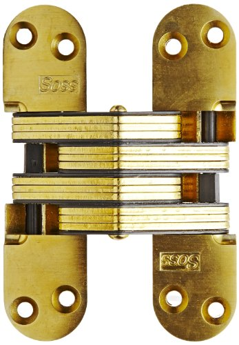 SOSS Invisible Hinge Model 220 for 2' Thick Material, 20 Minute Fire Rated, Zinc, Satin Brass Exterior Finish, Model Number 220US4, 12 x 1-1/2'
