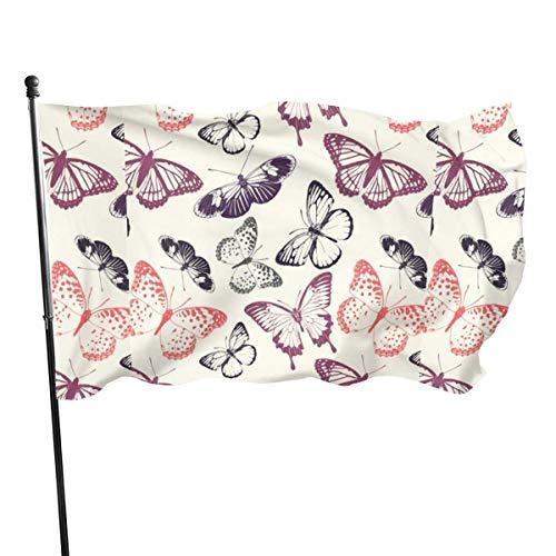 JDQP Papillons Accueil Jardin Drapeau Polyester Drapeau Intérieur/Extérieur Bannières Murales Drapeau Décoratif 3x5 Pied