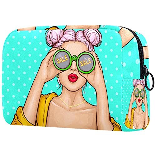 Large Makeup Bag Zipper Pouch Travel Cosmetic Organizer for Women and Girls Girl With Binoculars