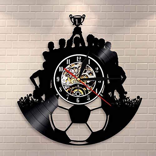 Regalos para Hombres Fútbol Disco de Vinilo Reloj de Pared Decoración de Pared Equipo de fútbol Campeón Arte de la Pared Deporte Reloj de Vinilo Vintage Triumph Souvenir Regalo