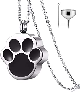 QUMY Pet Cat Dog Paw Print Cremation Jewelry for Ashes Wearable Urn Necklace Keepsake Memorial Pendant for Women Men, with Stainless Chain and Funnel Fill Kits