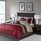 Madison Park Amherst Faux Silk Comforter Set-Casual Contemporary Design All Season Down Alternative Bedding, Matching Shams, Bedskirt, Decorative Pillows, King(104'x92'), Red, 7 Piece (MP10-038)
