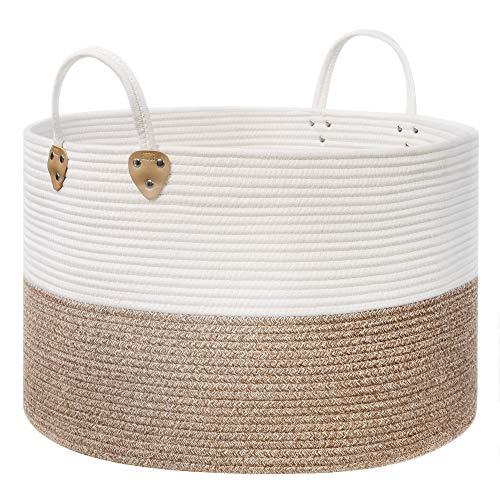 SONGMICS Cesto de cuerda de algodón con asas, 100 L, para juguetes, ropa, mantas, marrón y beige, 55 x 55 x 35 cm