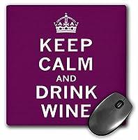 3drose Keep Calm and Drinkワイン、マルーンマウスパッド( MP _ 202943_ 1)