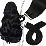 Moresoo Tape Hair Extensions 24 Inch Jet Black Hair Extensions 40 Pieces Natural Hair Extensions Full Head Tape in Extensions Remy Human Hair 100G Color #1 Jet Black Real Hair Extensions