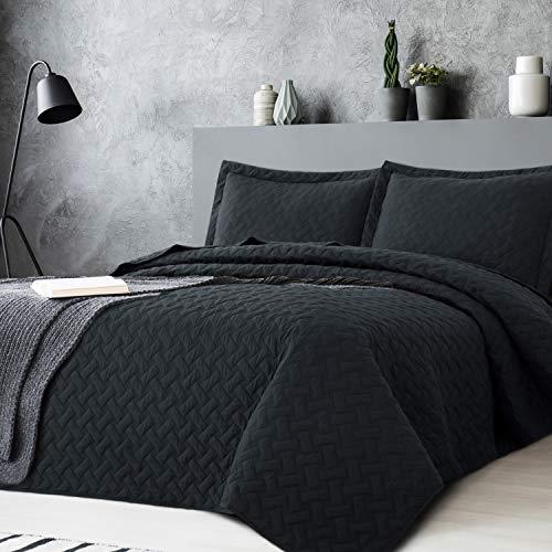Bedsure Quilt Sets Queen Black - Lightweight Queen Quilt Beding Set, Summer...
