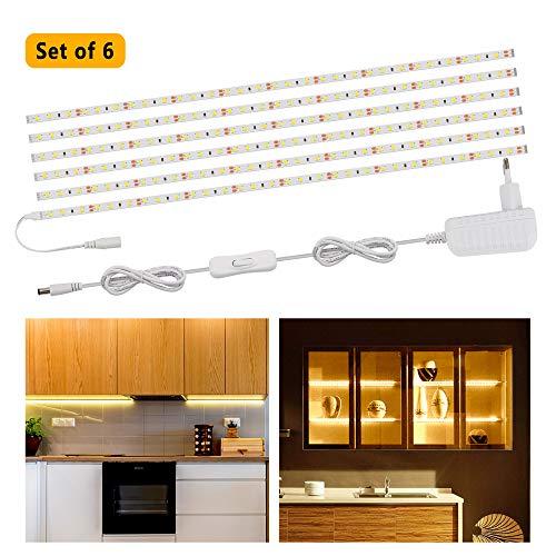 LED Unterbauleuchte, Speclux LED-Unterschrankleuchte mit Trafo und Schalter, Helle Lichtleiste 1000Lumen 10W 3000K LED Band, LED Küchenleuchte Küchenlampe Vitrinenbeleuchtung, 6x50cm Strips, Warmweiß