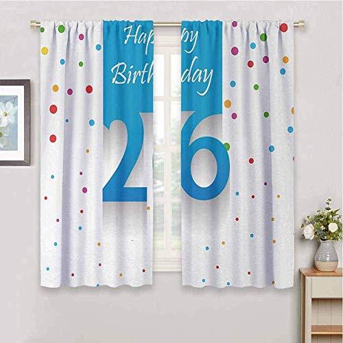 ZLYYH Cortinas 26 cumpleaños simple 280x240cm Cortina opaca 95% cortinas opacas que bloquean cortinas para ventana para habitación de niños, sala de estar, dormitorio, juego de 2