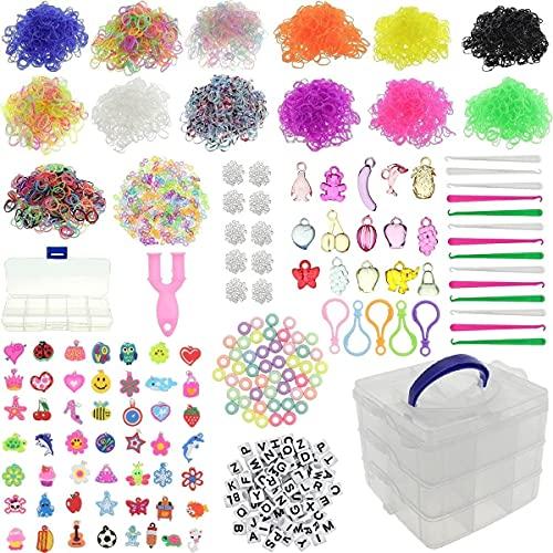 behave® 8000 XXL Loombänder Kasten Set - Sammelbox - 15 Häkelnadeln - 65 Anhänger - 690 S-Clips - 100 Perlen - 5 Rucksackclips