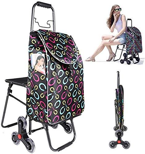 FHGJ Folding Carrello con Sedile Pieghevole Compact Alimentari Montascale Carrello/Impermeabile Durevole, 6 Ruote Portata Max 30 kg, Push/Pull for disabili Shopping Trolley 1020 (Color : A)