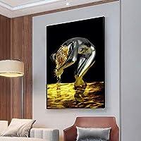 キャンバス絵画現代アートゴールデンリキッドブラックウーマンウォッシュヘアポスターとプリント壁の写真リビングルームアートプリント-50x70cmフレームなし