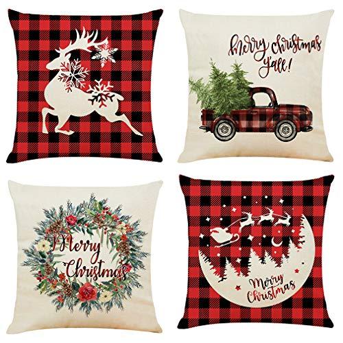 Aopota - Set di 4 federe per cuscino natalizie, motivo bufalo a quadretti, in cotone e lino, colore rosso, nero, in cotone e lino, decorazione per la casa