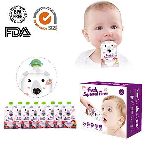 Funihut drinkflessen, herbruikbaar, dubbele ritssluiting, voor baby's, kinderen, 200 ml, herbruikbaar, 8 stuks