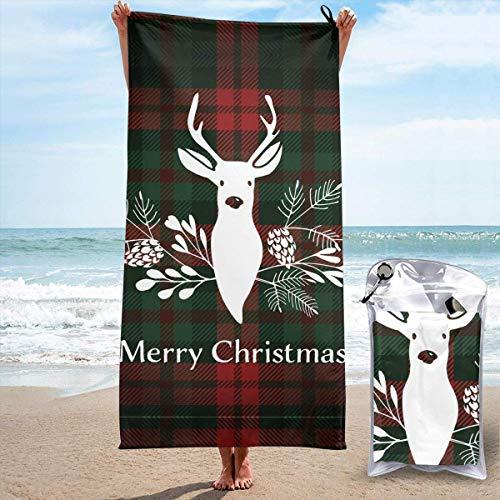 Telo da spiaggia leggero ad asciugatura rapida con tasca, renna di buon Natale in morbida microfibra senza sabbia, telo da viaggio per campeggio, nuoto, yoga, sport, ragazza, uomo, adulti