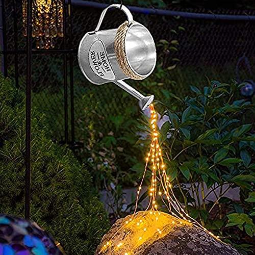Luz de cascada hueca, luz LED solar para jardín al aire libre, forma de estrella, de metal, con luz solar, intermitente, puede rociar, luz LED, jardín art decó (cuerda de plata con luz amarilla)