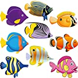 45 Recortes de Pez Adorno de Aula Versátil de Papel Colorido Recorte de Pez Tropical con Puntos de Pegamento para Boletín Tablero Fiesta de Cumpleaños Temática de Pesca de Océano, 5,9 x 5,9 Pulgadas