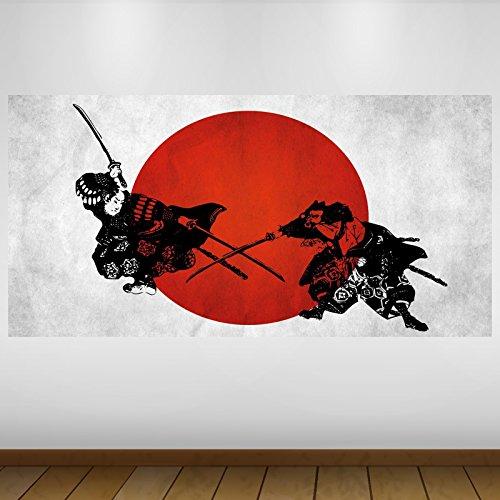 LagunaProject Extra Grande Negro Rojo Japón Resumen de Vinilo Póster - Mural Decoración - Etiqueta de la Pared -140cm x 70cm