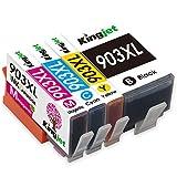 Kingjet 903XL Tintenpatrone Kompatibler für HP 903 903XL Multipack Druckerpatronen für HP Officejet 6950, HP Officejet Pro 6960 6970 All-in-one Drucker (1 Schwarz,1 Cyan,1 Magenta,1 Yellow)