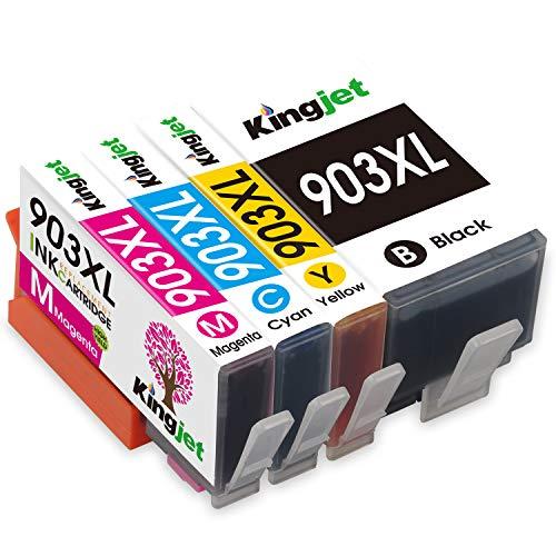 Kingjet 903XL, cartucce di ricambio per HP 903 XL, compatibili con HP Officejet Pro 6950 6960 6970 (1 nero, 1 ciano, 1 magenta, 1 giallo)