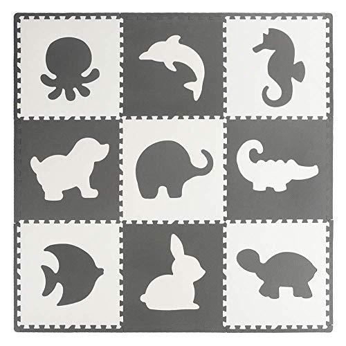 Velovendo® Extragroße & 20% dickere Puzzlematte | Sanfte Baby-Bodenmatte (58,5 x 58,5 x 1,2 cm)